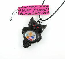 Fashion Betsey Johnson Black Owl Locket Living CZ Memory Pendant Necklace MH76
