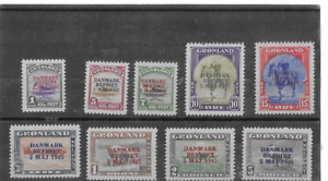 GREENLAND 1945 OVERPRINTS,SCOTT# 19-27 VF HR MINT SET