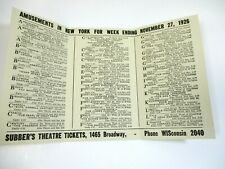 """1926 Subber's NY Broadway Theatre Schedule May West """"Sex"""" Gentleman Prefer Blond"""
