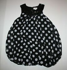 New The Children's Place Holiday Black and White Polka Dot Dress Size 10 year