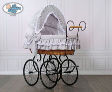 My Sweet Baby Luxury Retro Stubenwagen Nostalgiestubenwagen Grau Natura XXXL TÜV