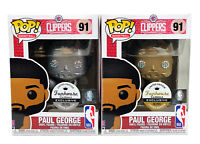 (2) Funko Pop #91 Gold Silver Metallic Paul George Clippers Funhouse Custom Excl