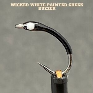 3x Wicked White Painted Cheek Buzzers - Size 12 Tied4Trout