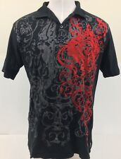 PJ Mark Mens XL Casual Polo Damask and Red Diamond Embroidered Designs Black
