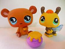 LPS # 814 Brown Honey Bear 813 Bumble Bee Littlest Pet Shop Lot of 2