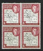 Falkland Islands SG# G13 & G13a in MNH Block of 4 / Very Minor Crease - S6059