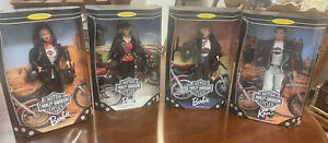 Lot of 4 Harley-Davidson  Barbie Dolls, Ken & Blonde, Brunette & Redhead Barbies