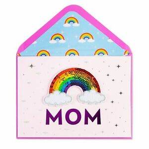 Papyrus Mother's Day Card - Sequin Rainbow & Clouds Sticker - You are Amazing!
