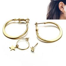 Fashion Moon Star Stud Hoop Dangle Earrings Jewelry Large Circle Ear Clip