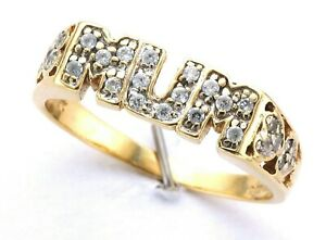 Ladies 9ct Yellow Cubic Zirconia Pave Set Initial Mum Ring With Heart Shoulders