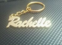 Hand Carved Personalized Your Name Golden Keychain Key Ring Gift Idea Key Chain