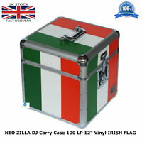 "NEO ZILLA Flight DJ Carry Case to Store 100 LP 12"" Vinyl Record IRISH FLAG NEW"