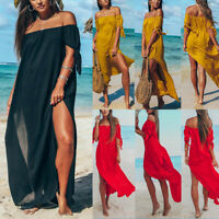 Sexy Women Beach Off Shoulder Maxi Dress Ladies Kaftan Holiday Swimwear Cover Up