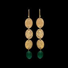 925 Sterling Silver Gold Polish Green Onyx Leaf Earrings Women Fashion Jewelry