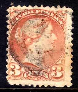 CANADA #37e 3c RED, 1873 PERF 11½x12, 2-RING NUMERAL