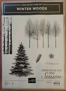 NEW Stampin' Up! WINTER WOODS Wood-Mount Stamp Set 147658