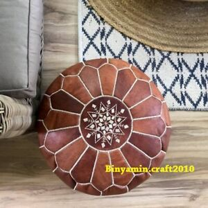 Leather foot stool Moroccan Ottoman  Genuine LEATHER POUF  CHRISTMAS PRESENT