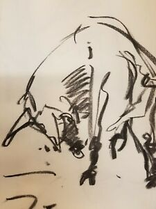 "JOSE TRUJILLO - Original Charcoal Paper Sketch Drawing 12"" Modernist Bull SIGNED"