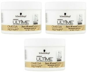 Lot of 3 Schwarzkopf Essence Ultime Omega Repair 60 Second Treatment 6.1 oz x 3