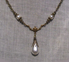 BRONZE FILIGREE STAR GLASS WHITE PEARL TEAR DROP Y NECKLACE EDWARDIAN VICTORIAN