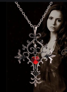 Vampire Diaries Gothic Sacred Heart Cross Necklace Chain Pendant Halloween Red