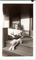1930s Pretty Young Girl with Guitar On Porch Vintage Photo
