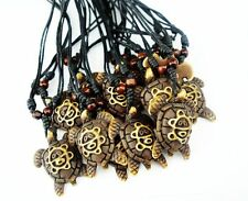 10 PCS Men Women Taino Tribal Longevity Turtle Sun Symbol Embossed Necklace
