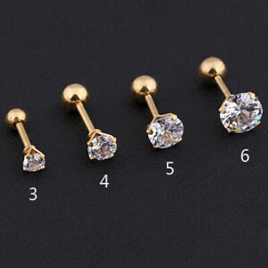 1Pc Earing Prong Tragus Cartilage Piercing Stud Earring Ear Ring Stainless Steel