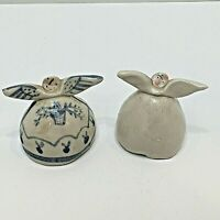 Ceramic Angels to Cover Cooked Eggs Handmade & Painted Signed Jane