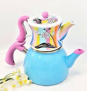 Colorful Teapot Turkish Enamel & Porcelain Tea Kettle Tea Maker Double Container