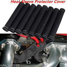 1200° SPARK PLUG WIRE BOOTS HEAT SLEEVE WRAP SHIELD PROTECTOR COVER 8PCS BLACK