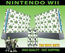 NINTENDO WII STICKER  CANNABIS LEAF WHITE WEED MARY GRAPHIC SKIN & 2 PAD SKINS