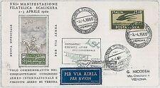 ITALIA storia postale - PRIMI VOLI - catalogo PELLEGRINI 00715 : VERONA 1960