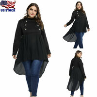 Plus Size Womens Asymmetric Tops Ladies Long Sleeve Loose Button T-shirt Blouse