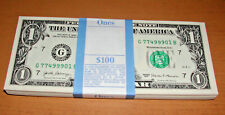 1 Pack of 100 - $1 Bills - UNCIRCULATED SEQUENTIAL with G77499999B & G77500000B