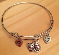 "Child/Girls~ ""Love my Cat"" & Paw 3 Silver charms Expandable Bangle Bracelet"