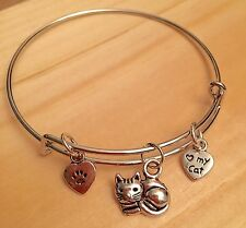 """Child/Girls~ """"Love my Cat"""" & Paw 3 Silver charms Expandable Bangle Bracelet"""