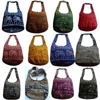 Beuteltasche Umhänge Schulter Tasche Canvas Ethno Hippie Elefanten Blumen Muster