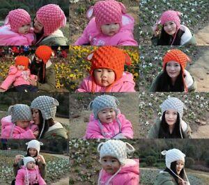 Handmade Rabbit Hat Knit Crochet Hat Newborn  Baby Child Kids Hat Lamb Hat Cap