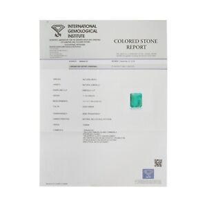 IGI CERTIFIED 11.76 Ct. Natural Zambian Clean Green Emerald Cut Loose Gemstone