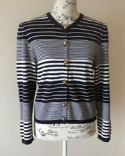 Jaeger Ladies Cardigan UK 14 Top Navy White Cotton 42 Gold Buttons Stripe Summer