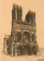 E.H. Barlow (fl.1915-1926) - Early 20th Century Etching, Reims Cathedral