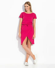 Womens Mini Wrap Dress Short Sleeve Scoop Neck Casual Tunic Sizes 8-14 FA493
