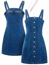 Womens Denim Dress Sleeveless Pinafore Dresses Size 8 10 12 14 Blue