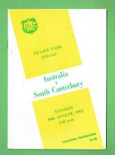 #MM. AUSTRALIA V SOUTH CANTERBURY  RUGBY UNION PROGRAM  10th August 1982