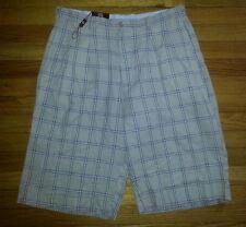 George Martin Contemporary Shorts 32x13 Tan Plaid Cotton Blend p2023