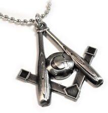 MLB Baseball Bat Ball Square & Compass Masonic Freemason Charm Pendant Necklace