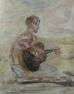 "JAMES GOVETT AUSTRALIAN OIL ""MALE PLAYING GUITAR"" 1980 A"