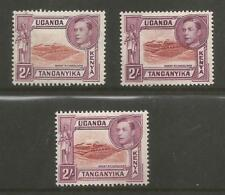 KUT SG146,146a & 146b THE 3 DIFFERENT PERFS OF 2/- LAKE BROWN&BROWN PURPLE C£270