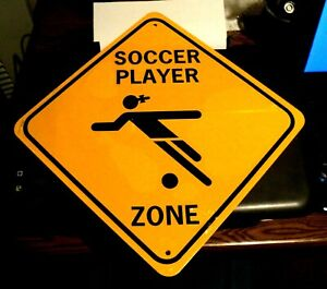 """SOCCER PLAYER ZONE SIGN: 12"""" Girls Sport: BRAND NEW SEALED: Metal Wall Hanging"""